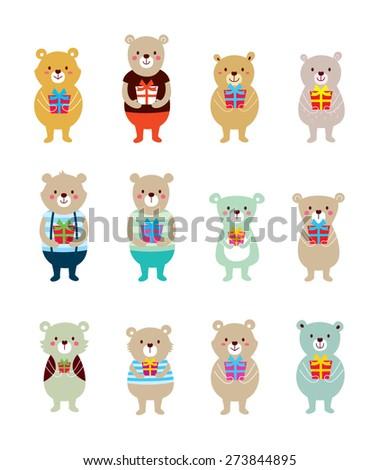 cute teddy bear vector with gift - stock vector
