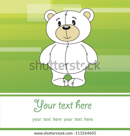 Cute teddy bear vector with green background