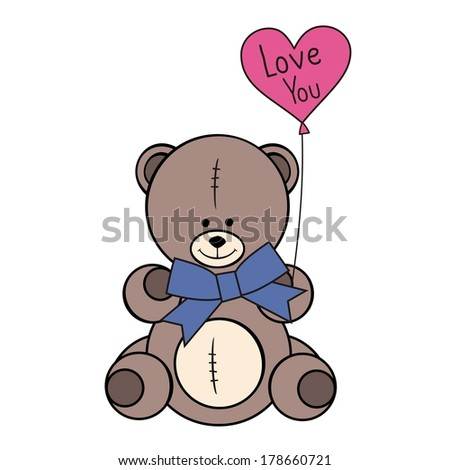 Cute teddy bear with in heart shape balloon on white background - stock vector