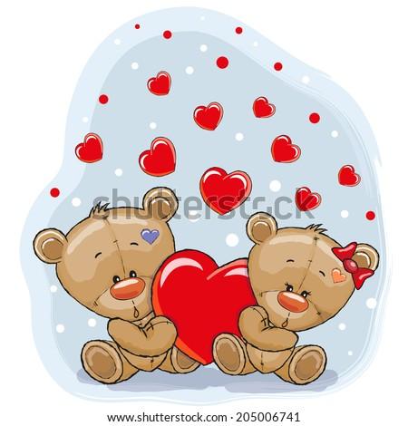 Cute Teddy Bears with heart - stock vector