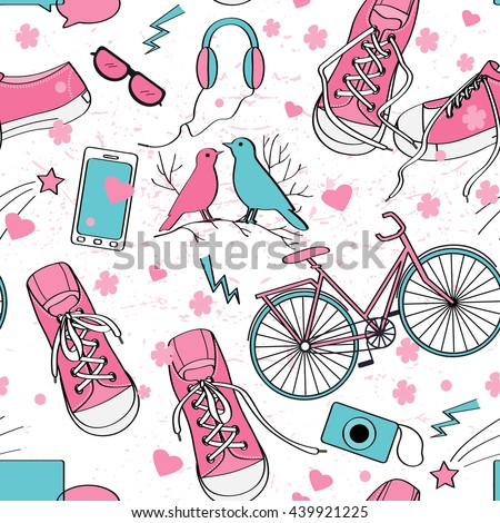 Cute teenager girls pattern with sneakers, birds couple, bike, camera, mobile telephone, pants, headphones, hearts, and flowers. Pink and blue palette. Teenage girl world. Light grunge texture  - stock vector