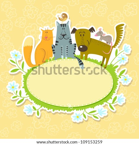 Cute text frame with pets - stock vector