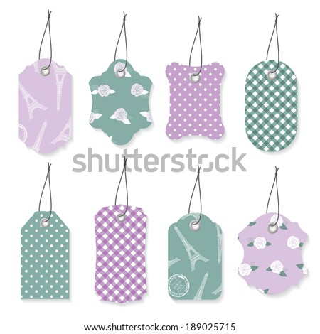 Cute textile label tags set in violet and blue colors.