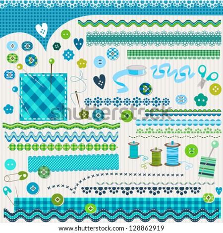 cute textured design elements - stock vector