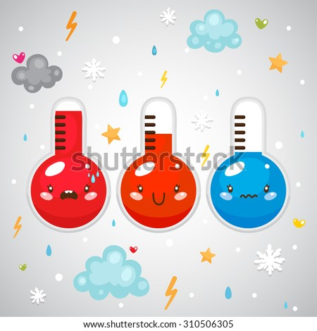 Cute thermometers (hot, normal, cold temperature) and weather symbols, set, vector. - stock vector