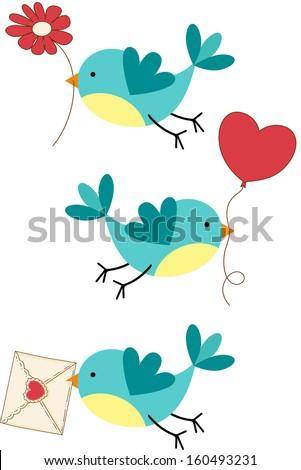 Cute Three Love Birds - stock vector