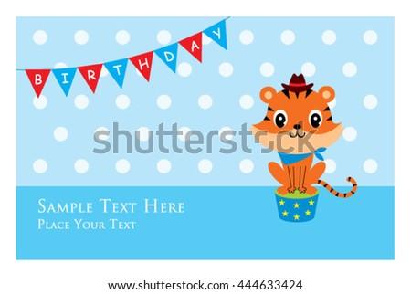 Cute Tiger Birthday Card Stock Vector 444633424 Shutterstock