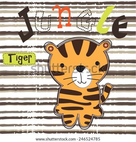 cute tiger carton in the jungle vector illustration - stock vector