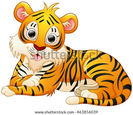 Cute tiger cartoon lay down