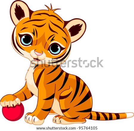 Cute tiger cub playing with red boll