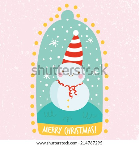 Cute tiny snowman. Cute Christmas illustration in cartoon style. Happy smiley snowman in a snow globe. Adorable Merry Christmas card design - stock vector