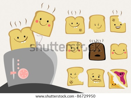 cute toast character set - stock vector