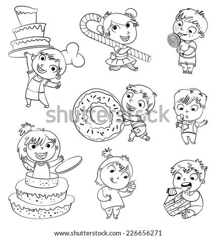 Cute Toddler Boy Eating Icecream Boy Stock Vector 226656271