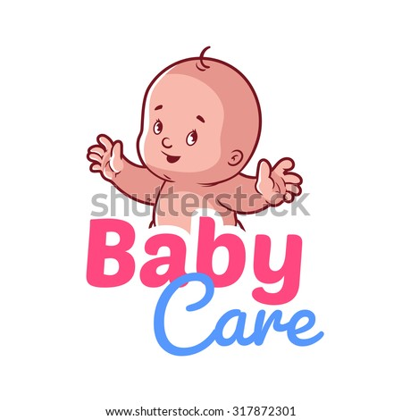 Cute toddler. Vector illustration on a white background. Baby care logo - stock vector
