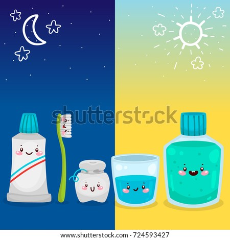Cute Tools For Oral Dental Hygiene Morning And Night Procedure Informational Poster Children