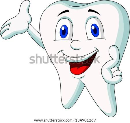 Cute tooth cartoon presenting - stock vector