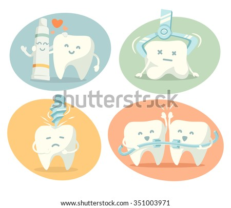 Cute tooth in different situations. Part 2. Vector illustration.