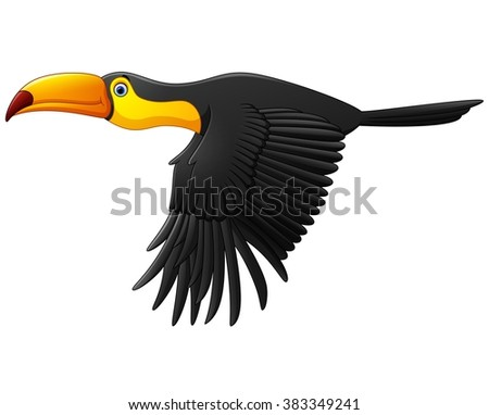 Cute toucan bird cartoon flying - stock vector