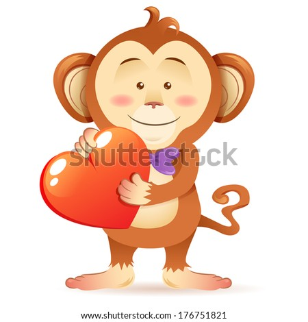 Cute toy Monkey pet isolated holding heart in paws with love