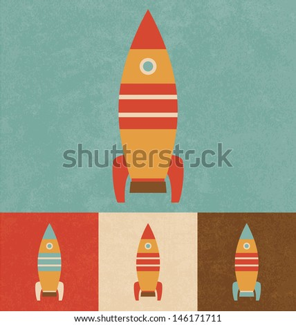 Cute Toy Rocket | Cartoonish Design | Vintage Style - stock vector