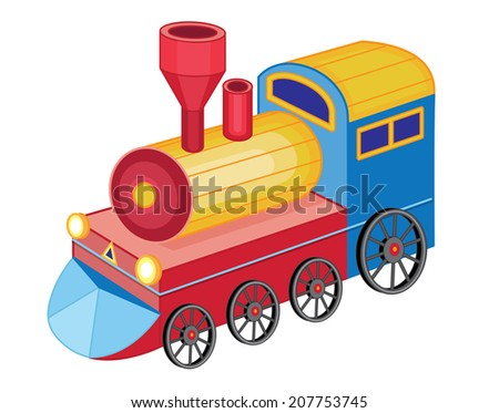 cute toy train (vector illustration) - stock vector