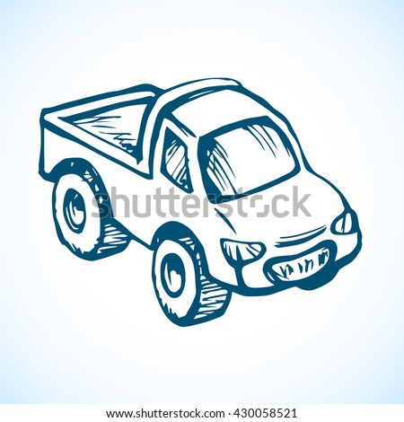 Cute toy transfer sedan isolated on white background. Freehand outline ink hand drawn picture sketchy in retro scribble style pen on paper. Closeup view with space for text - stock vector