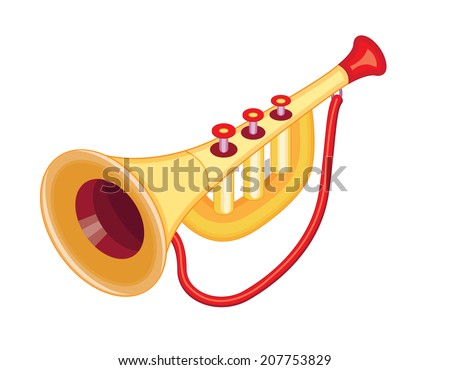 Toy trumpet stock images royalty free images vectors shutterstock cute toy trumpet vector illustration sciox Choice Image