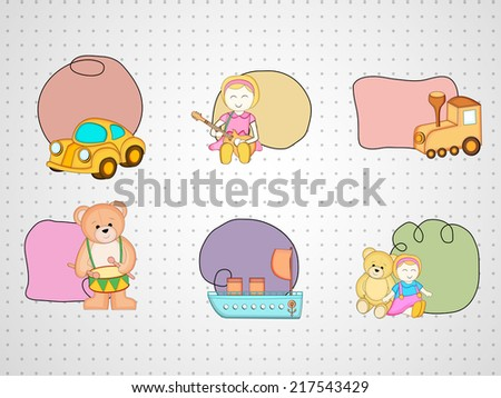 Cute toys set with blank space for your message on grungy grey background.  - stock vector