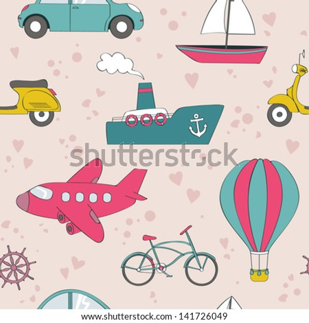 Cute transport seamless background - stock vector