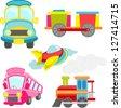 cute transportation elements - stock vector