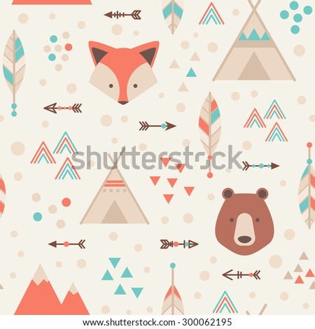 Cute tribal geometric seamless pattern in cartoon style with fox, bear, lodge houses, arrows, feathers for fabric and web backgrounds - stock vector