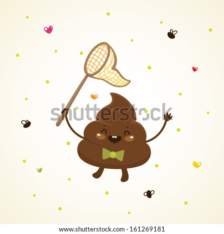 Cute turd and flies - stock vector