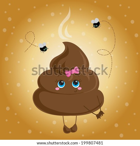 Cute turd with a bow and flies. Vector character. - stock vector