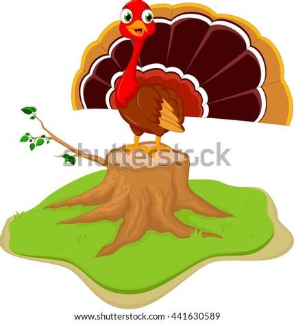 cute turkey cartoon on tree stump - stock vector