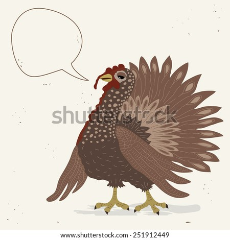 Cute turkey cock with speech bubble - stock vector
