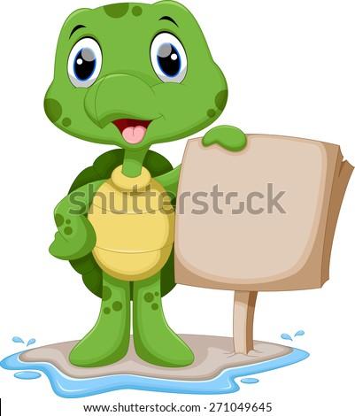 Cute turtle cartoon holding a blank sign - stock vector