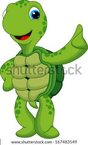 cute turtle thumbs up - stock vector