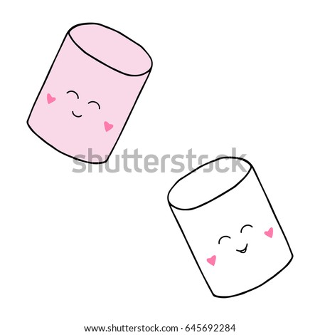 Cute two marshmallows faces sweet puffy stock vector for Cute marshmallow coloring pages