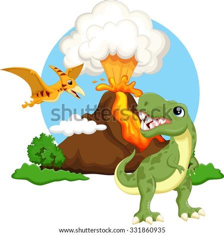 Cute  tyrannosaurus and pterodactyl cartoon with volcano background - stock vector