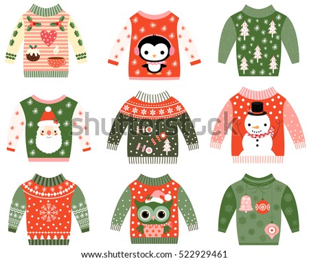 Cute ugly Christmas sweaters vector set in red and green colors, Sweater party clip art collection for invitations and greeting cards