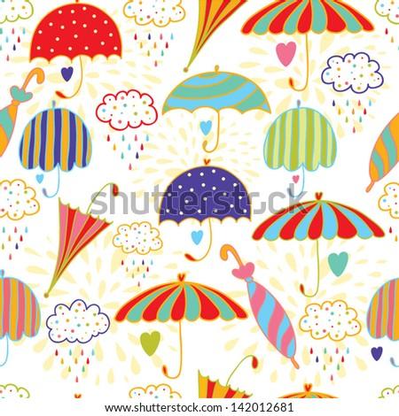 cute umbrellas. seamless vector pattern - stock vector