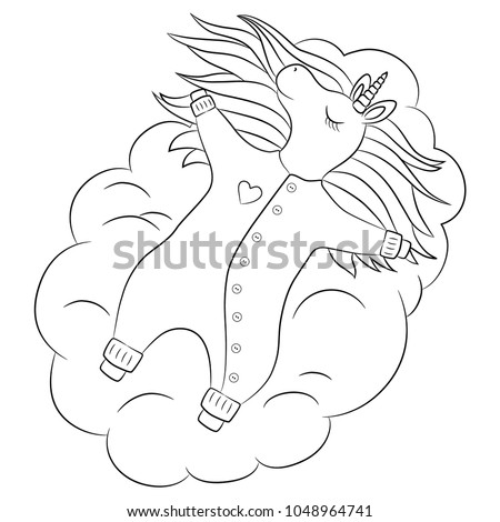 Cute Unicorn Baby Girl Sleeping On A Cloud, With Beautiful Hair Baby  Wearing Romper,