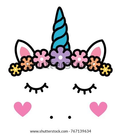 Cute Unicorn Face Pastel Rainbow Flowers Vector de stock767139634 ...