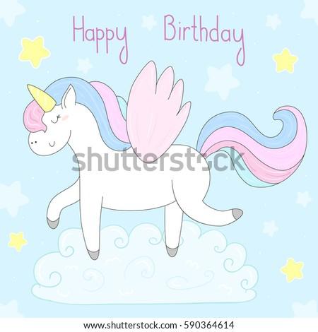 Cute Unicorn Print Kids Happy Birthday Stock Photo (Photo, Vector ...