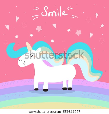 Cute Unicorn Print Kids Smile Card Stock Vector 559811227 - Shutterstock