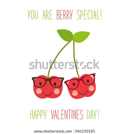 Cute unusual hand drawn Valentines Day card with funny cartoon character of cherry and hand written note - stock vector