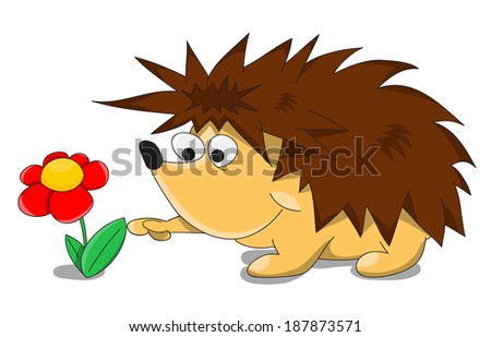 Cute unusual vector cartoon hedgehog with flower - stock vector