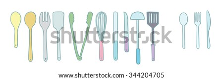 cute utensil doodle, drawing with coloring for decoration - stock vector