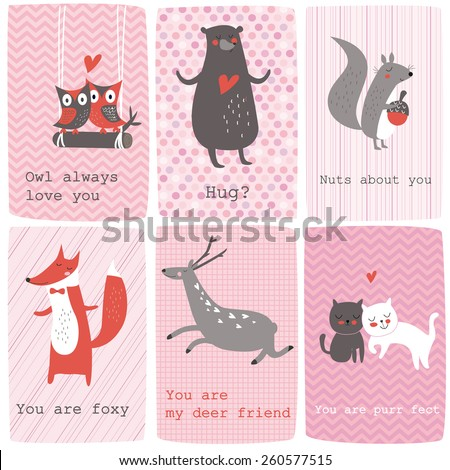 Cute valentine cards with funny animals in vector set.
