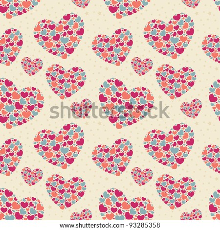 Cute Valentine love seamless pattern with colorful hearts - stock vector